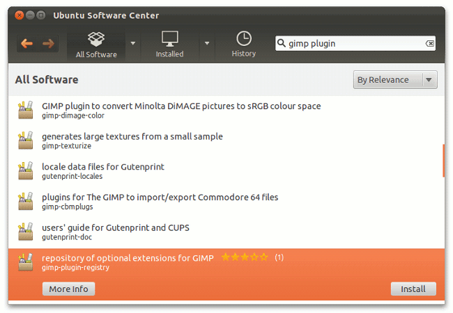 Ubuntu Software Center showing gimp plugins