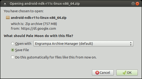 downloading android-ndk-r11c-linux-x86_64.zip