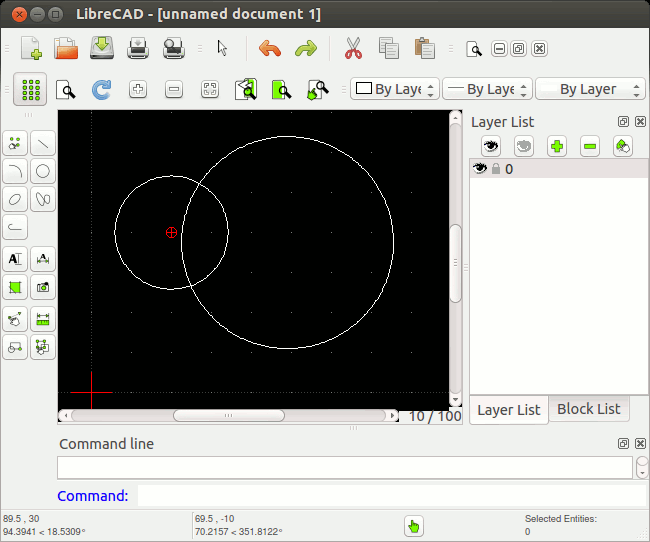 LibreCAD version 1.0.2 running on Ubuntu 12.04