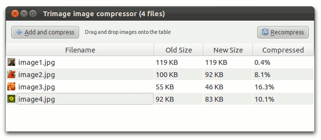 Trimage Image Compressor report of the test results.
