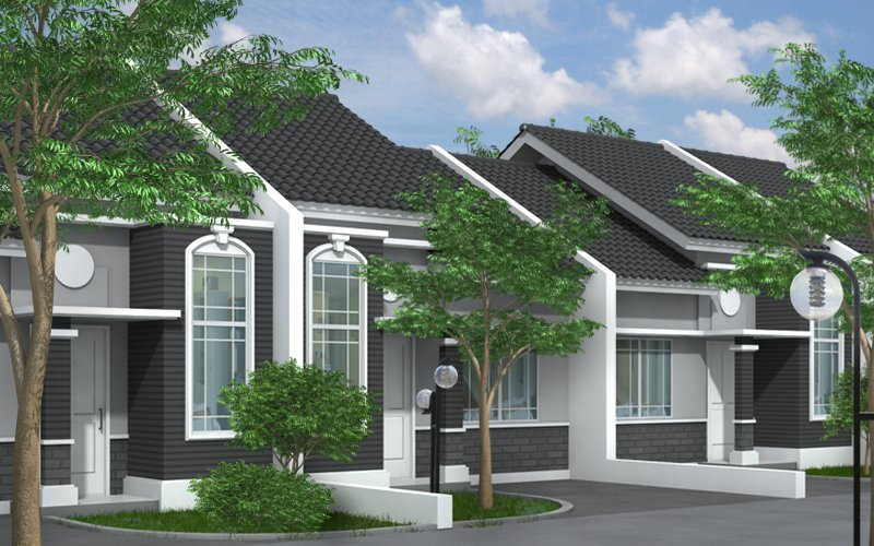 3D rendered house image with trees added