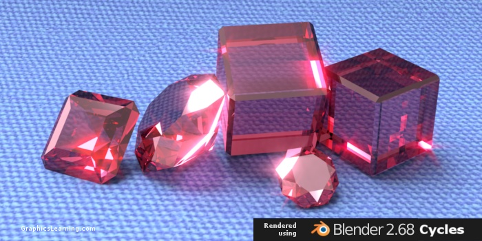Diamonds rendered using Blender Cycles Image-Based Lighting Technique
